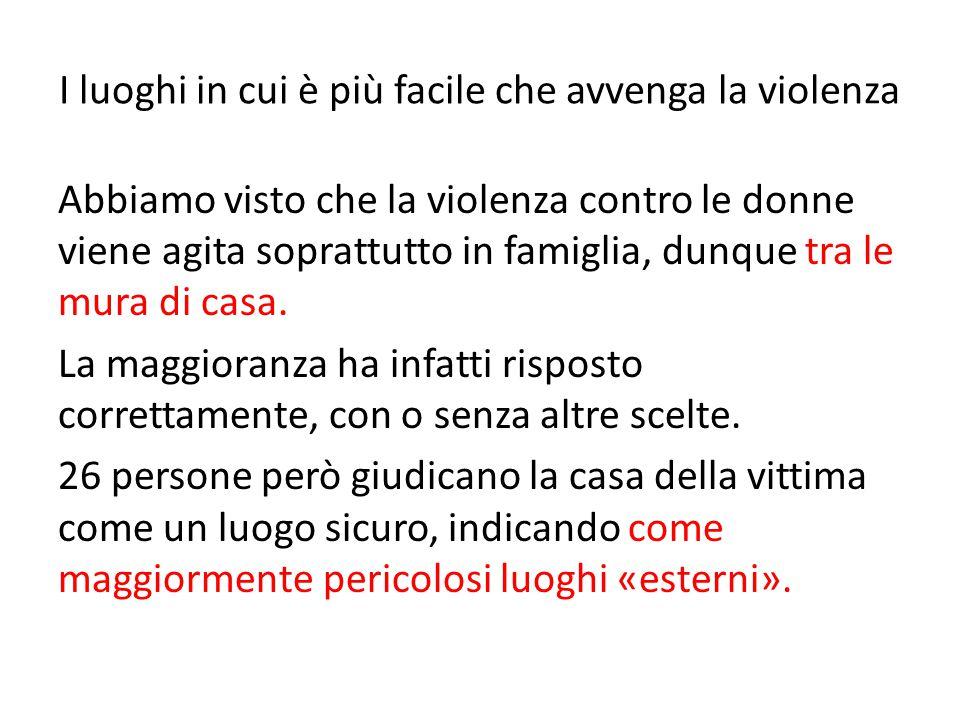 I luoghi in cui è più facile che avvenga la violenza Abbiamo visto che la violenza contro le donne viene agita soprattutto in famiglia, dunque tra le