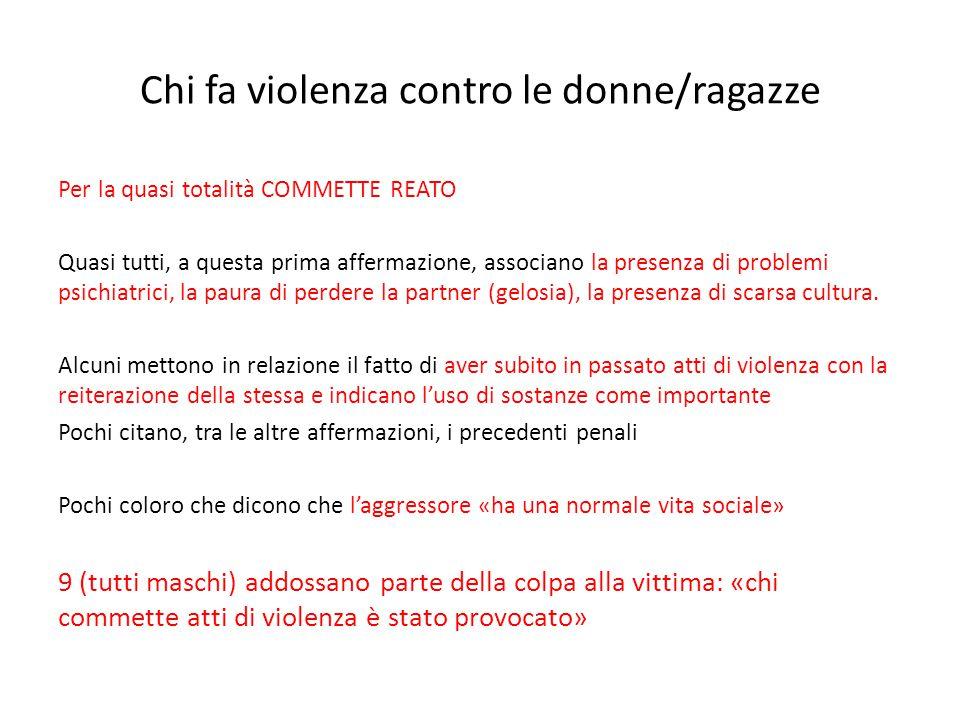 Chi fa violenza contro le donne/ragazze Per la quasi totalità COMMETTE REATO Quasi tutti, a questa prima affermazione, associano la presenza di proble