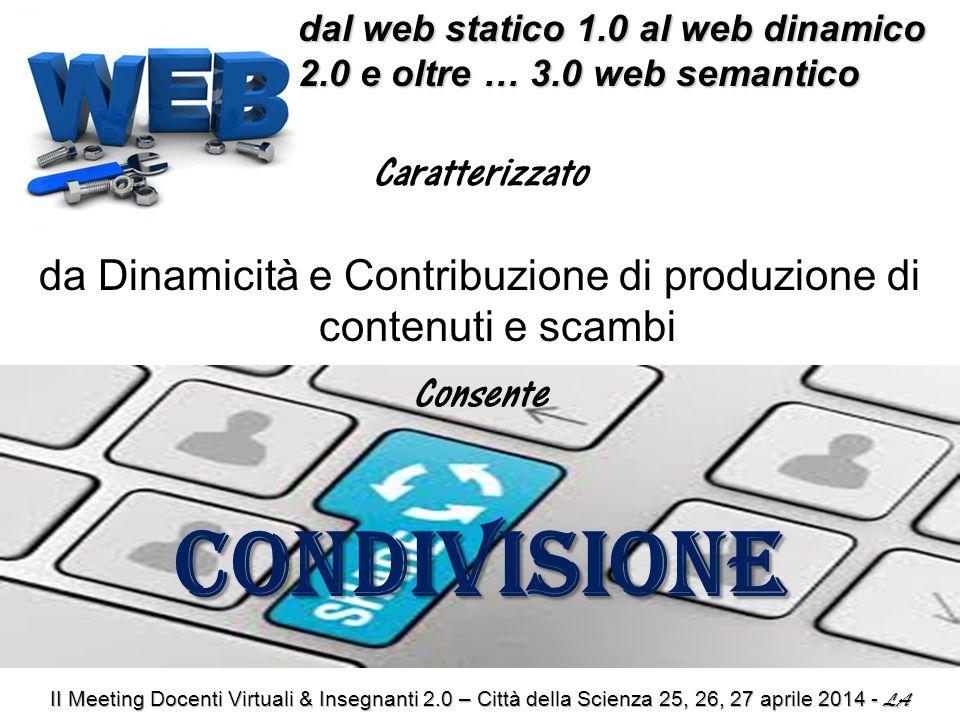 dal web statico 1.0 al web dinamico 2.0 e oltre … 3.0 web semantico dal web statico 1.0 al web dinamico 2.0 e oltre … 3.0 web semantico Caratterizzato da Dinamicità e Contribuzione di produzione di contenuti e scambi ConsenteCONDIVISIONE