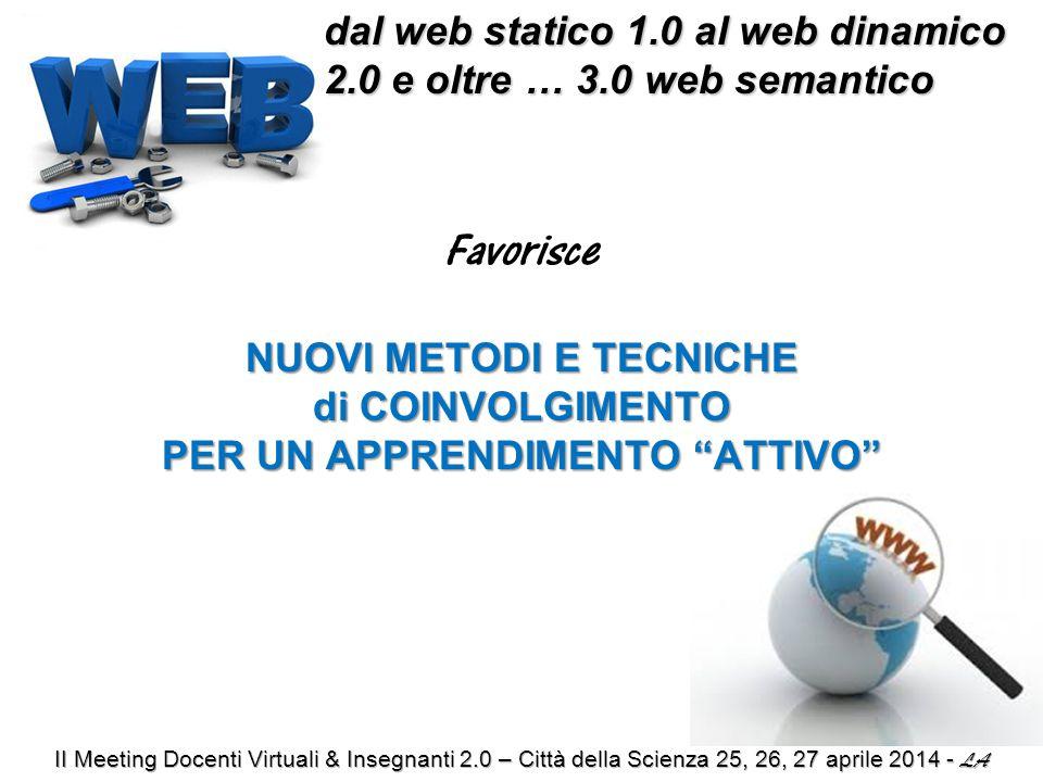dal web statico 1.0 al web dinamico 2.0 e oltre … 3.0 web semantico dal web statico 1.0 al web dinamico 2.0 e oltre … 3.0 web semantico Favorisce NUOVI METODI E TECNICHE di COINVOLGIMENTO PER UN APPRENDIMENTO ATTIVO
