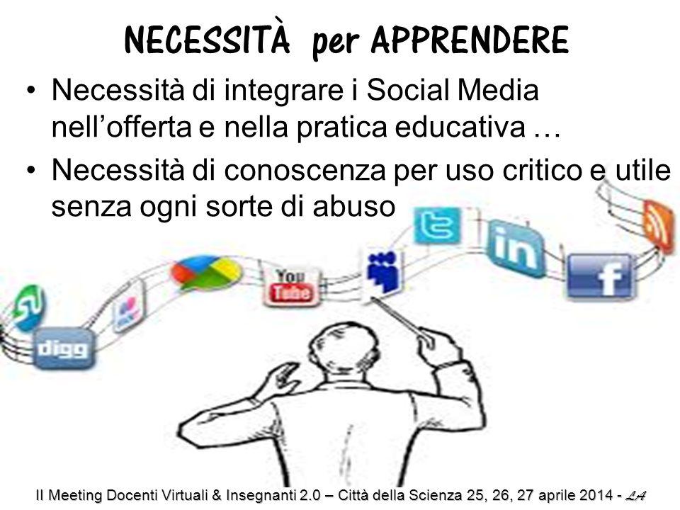 Necessità di integrare i Social Media nell'offerta e nella pratica educativa … Necessità di conoscenza per uso critico e utile senza ogni sorte di abuso NECESSITÀ per APPRENDERE