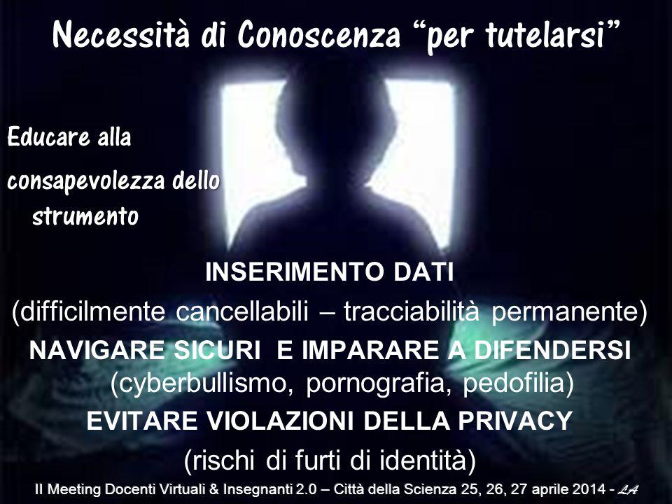 INSERIMENTO DATI (difficilmente cancellabili – tracciabilità permanente) NAVIGARE SICURI E IMPARARE A DIFENDERSI (cyberbullismo, pornografia, pedofilia) EVITARE VIOLAZIONI DELLA PRIVACY (rischi di furti di identità) Educare alla consapevolezza dello strumento