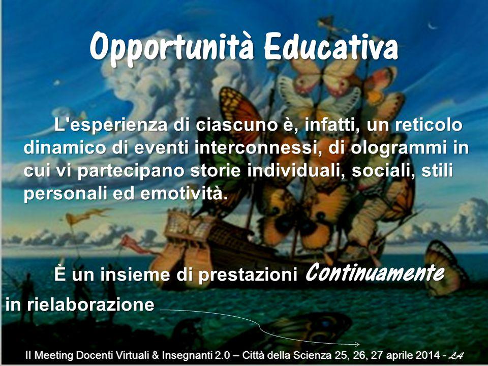 Opportunità Educativa L esperienza di ciascuno è, infatti, un reticolo dinamico di eventi interconnessi, di ologrammi in cui vi partecipano storie individuali, sociali, stili personali ed emotività.