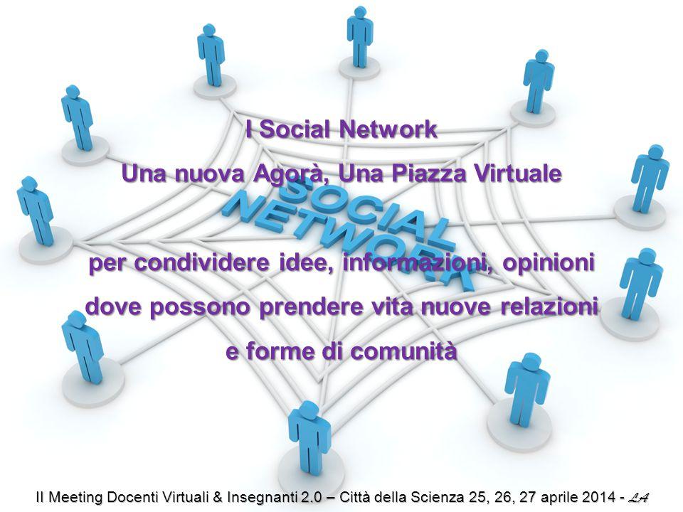 I Social Network Una nuova Agorà, Una Piazza Virtuale per condividere idee, informazioni, opinioni dove possono prendere vita nuove relazioni e forme di comunità
