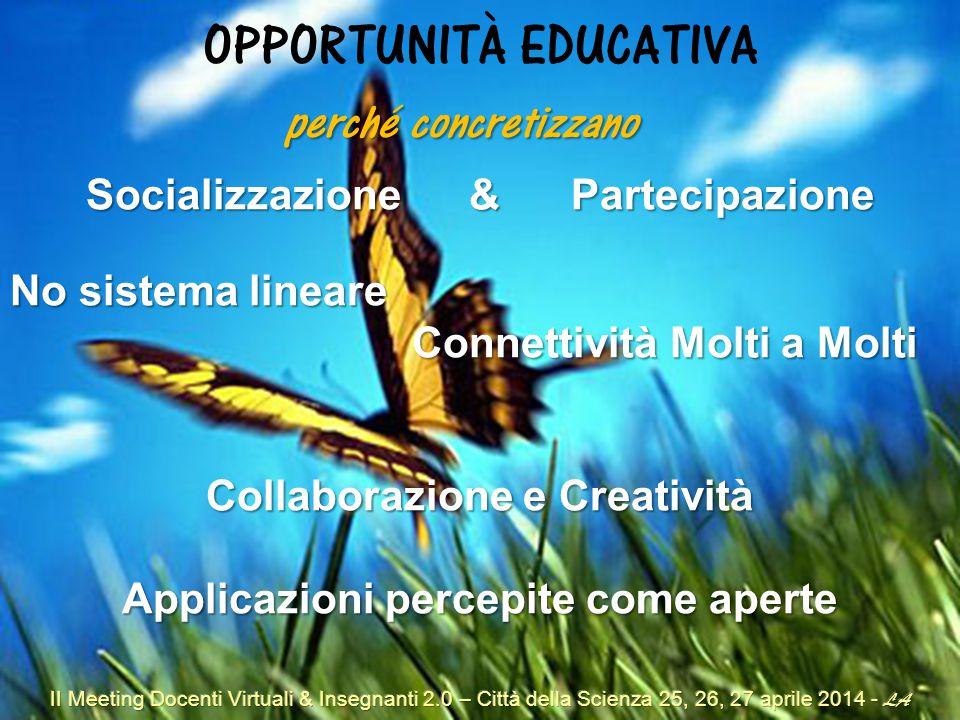 OPPORTUNITÀ EDUCATIVA Socializzazione & Partecipazione No sistema lineare Connettività Molti a Molti Connettività Molti a Molti Collaborazione e Creatività Applicazioni percepite come aperte perché concretizzano