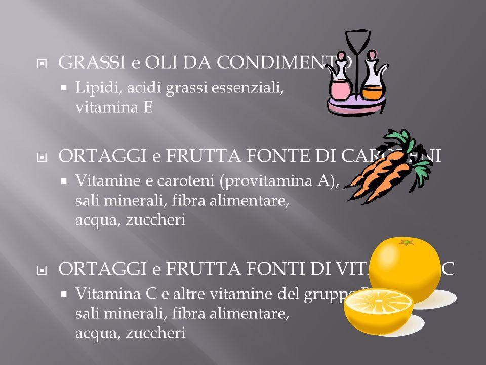  GRASSI e OLI DA CONDIMENTO  Lipidi, acidi grassi essenziali, vitamina E  ORTAGGI e FRUTTA FONTE DI CAROTENI  Vitamine e caroteni (provitamina A),