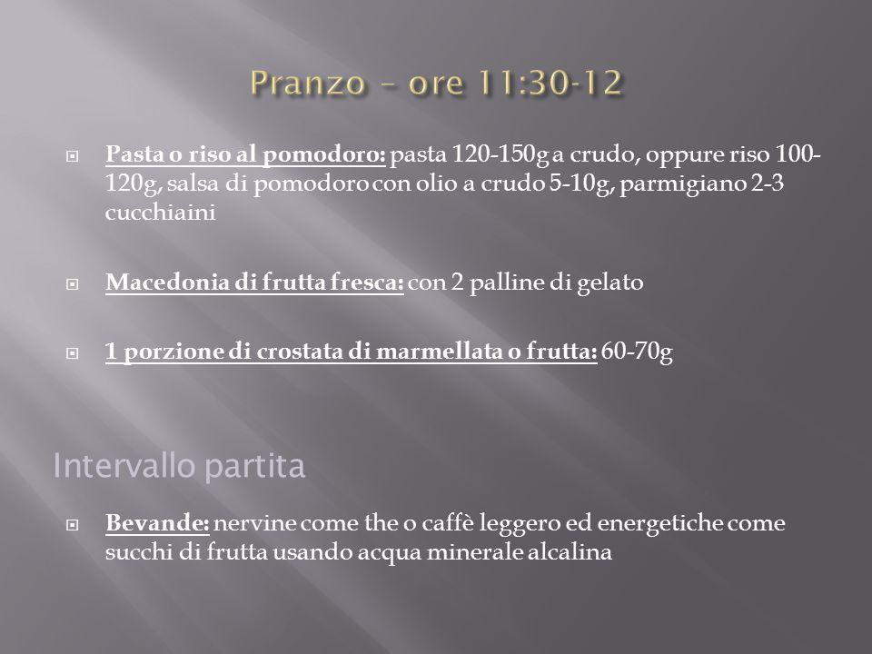  Pasta o riso al pomodoro: pasta 120-150g a crudo, oppure riso 100- 120g, salsa di pomodoro con olio a crudo 5-10g, parmigiano 2-3 cucchiaini  Maced