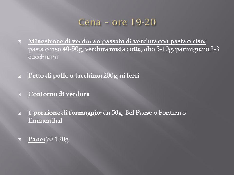  Minestrone di verdura o passato di verdura con pasta o riso: pasta o riso 40-50g, verdura mista cotta, olio 5-10g, parmigiano 2-3 cucchiaini  Petto