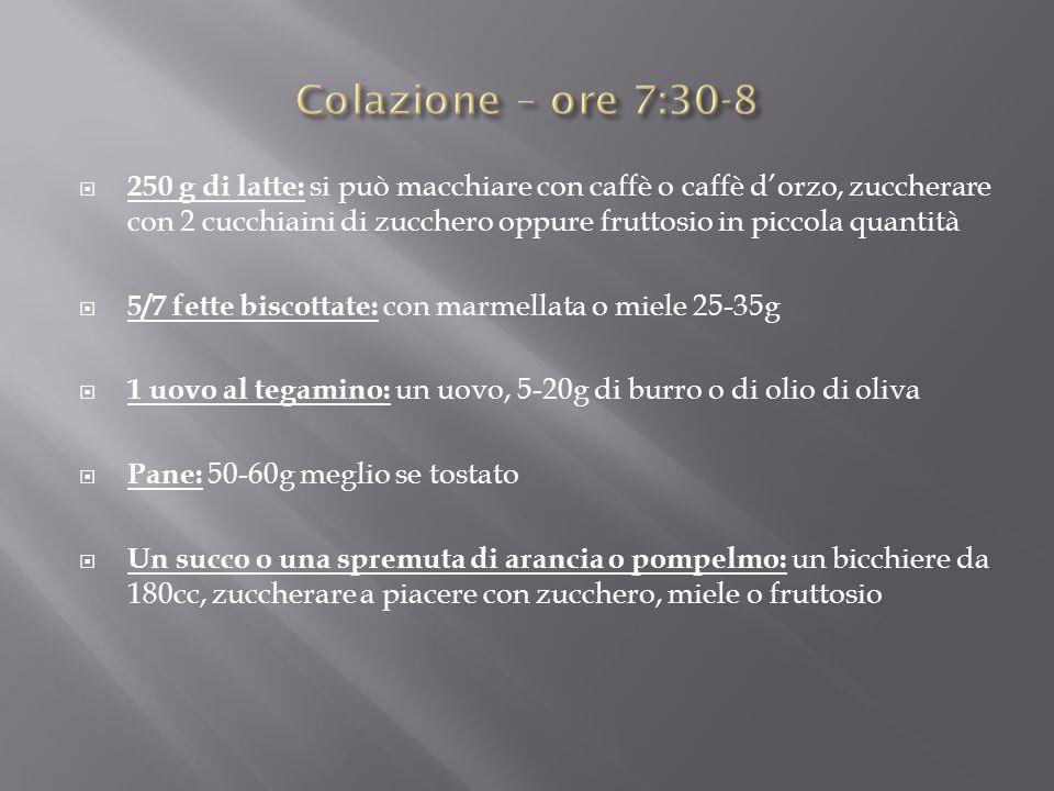  250 g di latte: si può macchiare con caffè o caffè d'orzo, zuccherare con 2 cucchiaini di zucchero oppure fruttosio in piccola quantità  5/7 fette