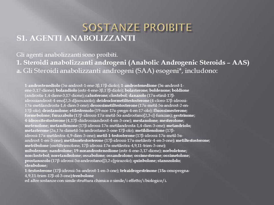 S1. AGENTI ANABOLIZZANTI Gli agenti anabolizzanti sono proibiti. 1. Steroidi anabolizzanti androgeni (Anabolic Androgenic Steroids – AAS) a. Gli Stero
