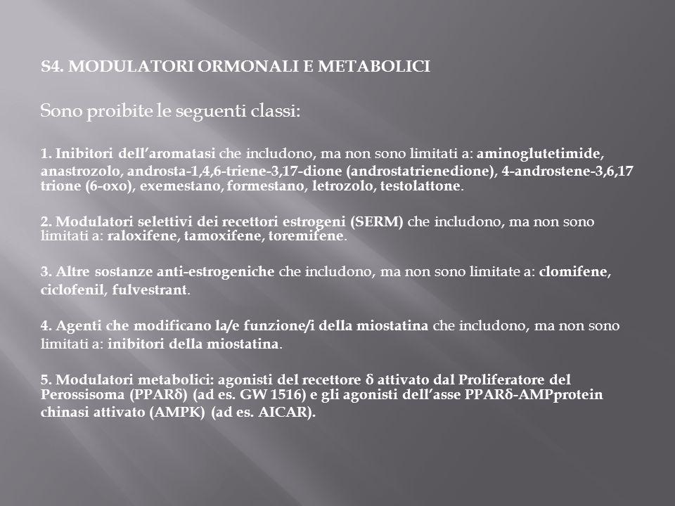 S4. MODULATORI ORMONALI E METABOLICI Sono proibite le seguenti classi: 1. Inibitori dell'aromatasi che includono, ma non sono limitati a: aminogluteti