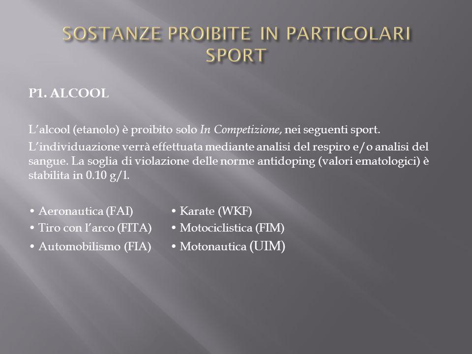 P1. ALCOOL L'alcool (etanolo) è proibito solo In Competizione, nei seguenti sport. L'individuazione verrà effettuata mediante analisi del respiro e/o