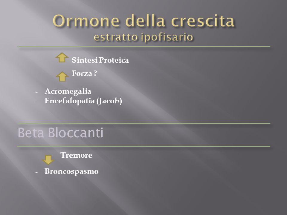 Sintesi Proteica Forza ? - Acromegalia - Encefalopatia (Jacob) Beta Bloccanti Tremore - Broncospasmo