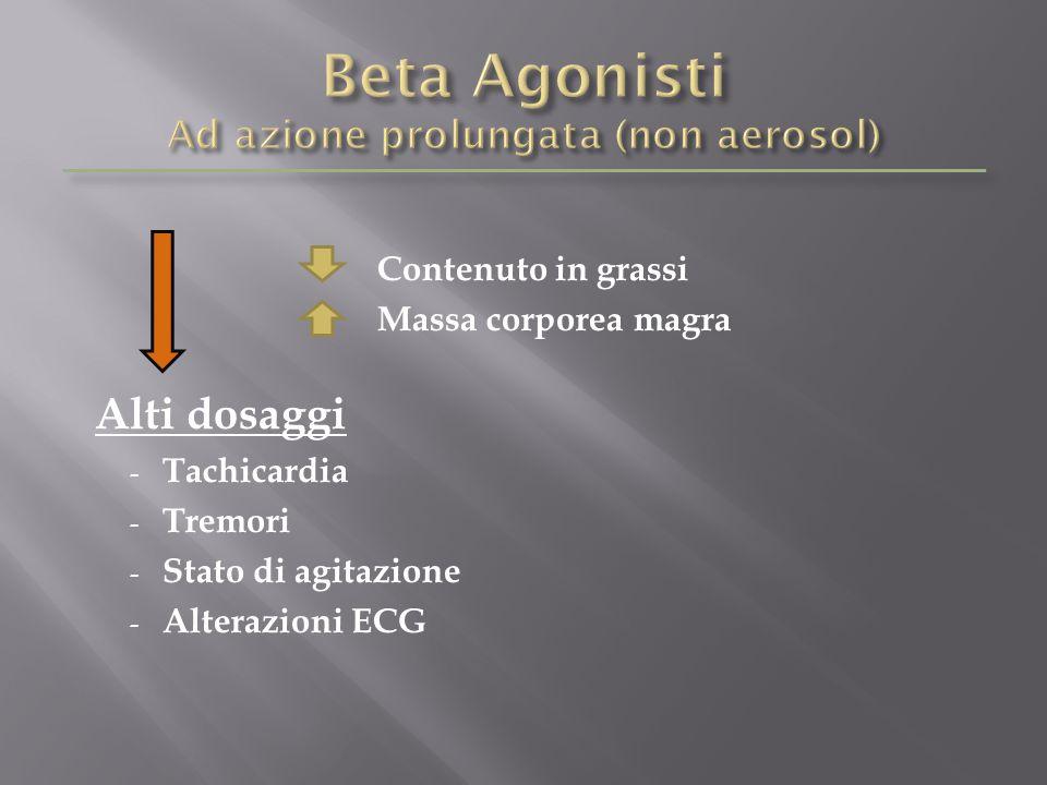 Contenuto in grassi Massa corporea magra Alti dosaggi - Tachicardia - Tremori - Stato di agitazione - Alterazioni ECG