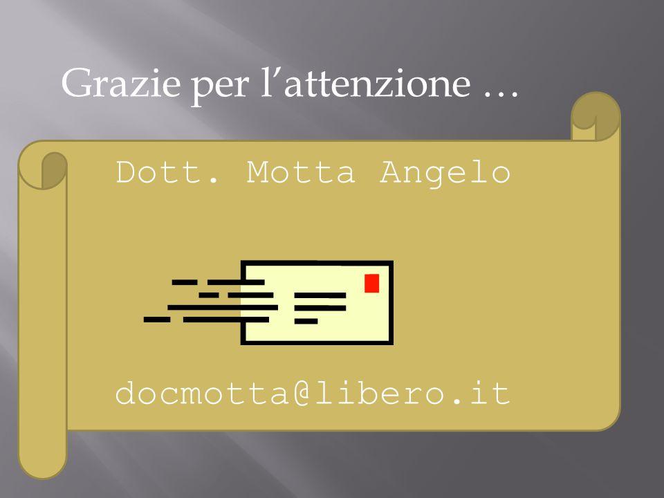 Dott. Motta Angelo docmotta@libero.it Grazie per l'attenzione …