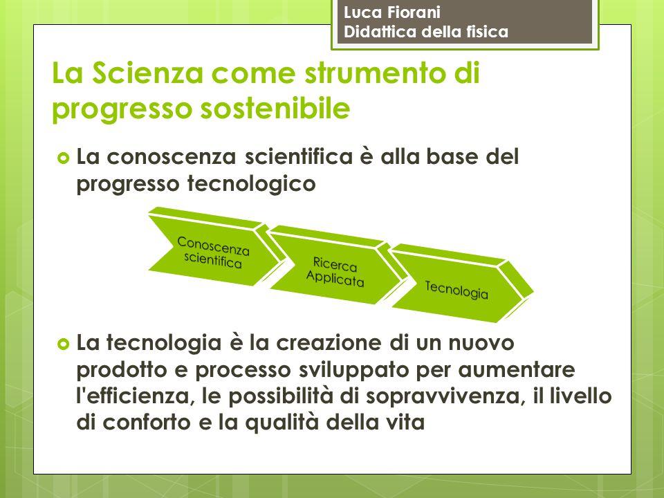 Luca Fiorani Didattica della fisica La Scienza come strumento di progresso sostenibile  La conoscenza scientifica è alla base del progresso tecnologi