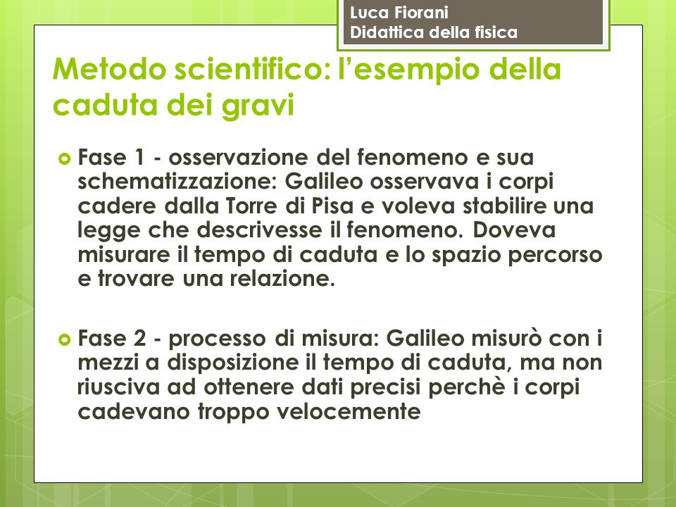 Luca Fiorani Didattica della fisica Metodo scientifico: l'esempio della caduta dei gravi  Fase 1 - osservazione del fenomeno e sua schematizzazione: