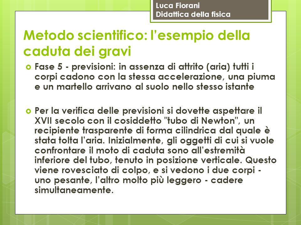 Luca Fiorani Didattica della fisica Metodo scientifico: l'esempio della caduta dei gravi  Fase 5 - previsioni: in assenza di attrito (aria) tutti i c