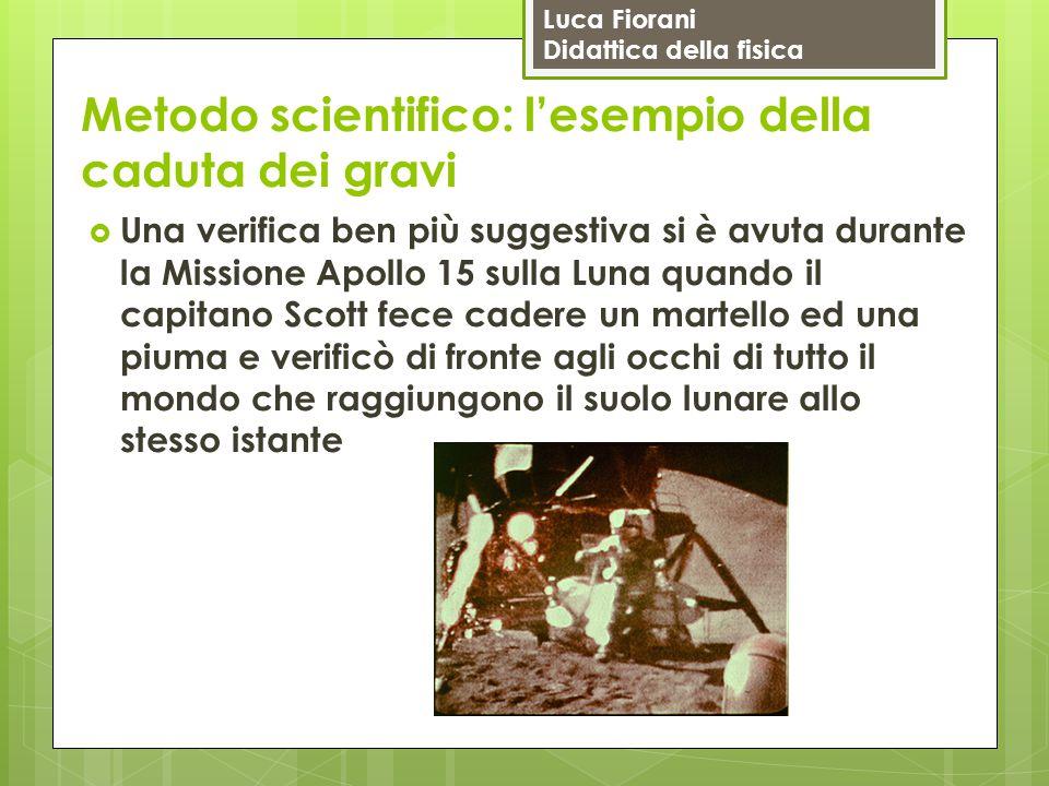 Luca Fiorani Didattica della fisica Metodo scientifico: l'esempio della caduta dei gravi  Una verifica ben più suggestiva si è avuta durante la Missi