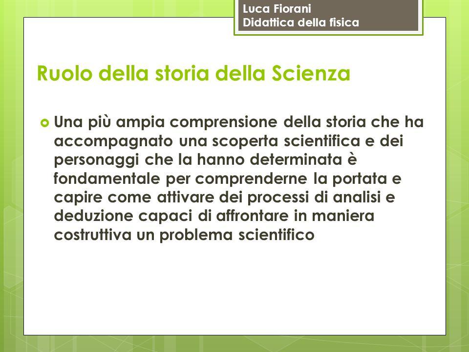 Luca Fiorani Didattica della fisica Ruolo della storia della Scienza  Una più ampia comprensione della storia che ha accompagnato una scoperta scient