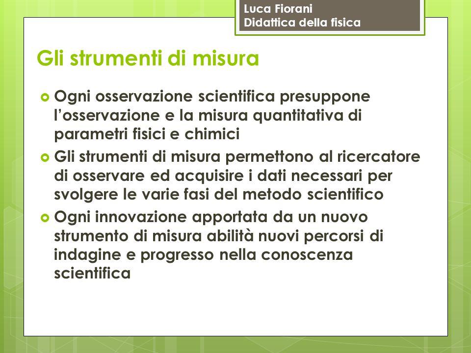 Luca Fiorani Didattica della fisica Gli strumenti di misura  Ogni osservazione scientifica presuppone l'osservazione e la misura quantitativa di para