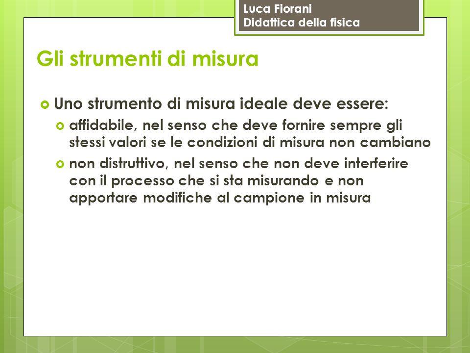 Luca Fiorani Didattica della fisica Gli strumenti di misura  Uno strumento di misura ideale deve essere:  affidabile, nel senso che deve fornire sem