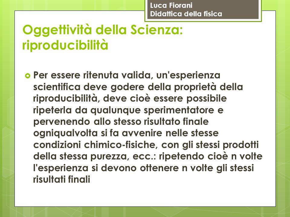 Luca Fiorani Didattica della fisica Oggettività della Scienza: riproducibilità  Per essere ritenuta valida, un'esperienza scientifica deve godere del