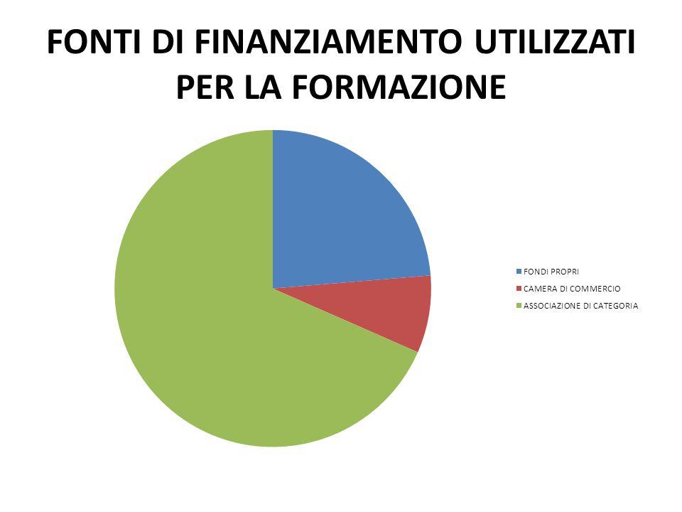 FONTI DI FINANZIAMENTO UTILIZZATI PER LA FORMAZIONE