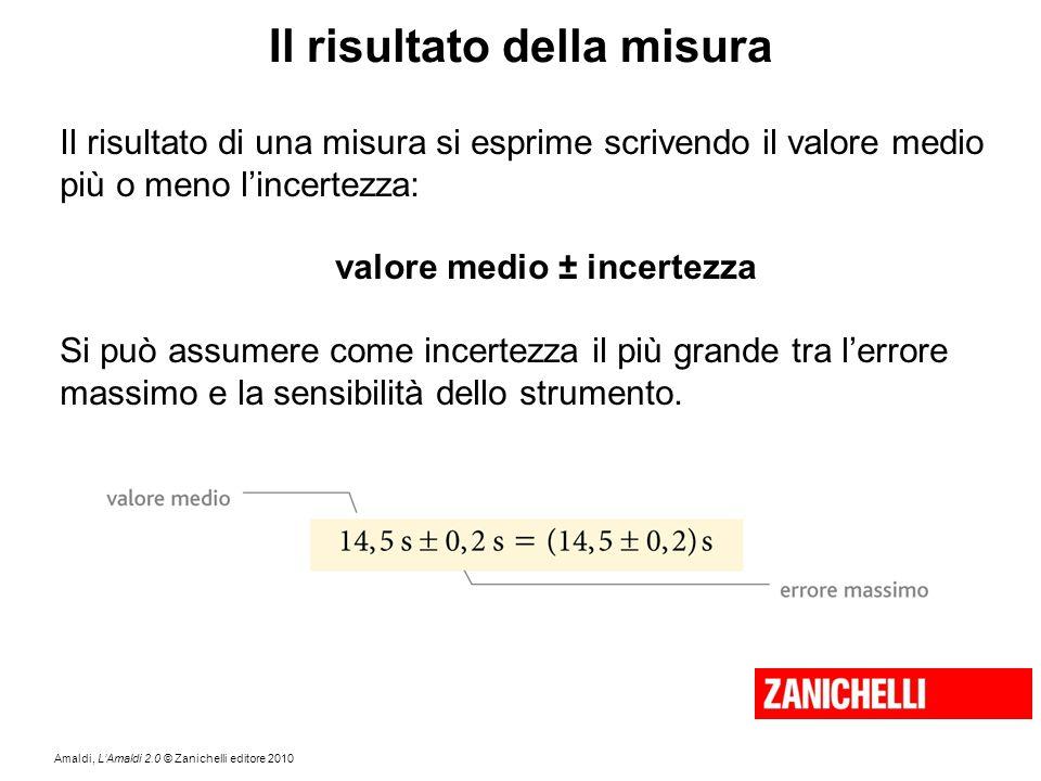 Amaldi, L'Amaldi 2.0 © Zanichelli editore 2010 Il risultato della misura Il risultato di una misura si esprime scrivendo il valore medio più o meno l'