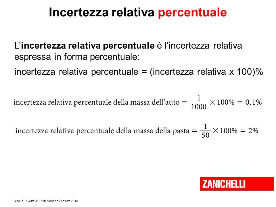Amaldi, L'Amaldi 2.0 © Zanichelli editore 2010 Incertezza relativa percentuale L'incertezza relativa percentuale è l'incertezza relativa espressa in f