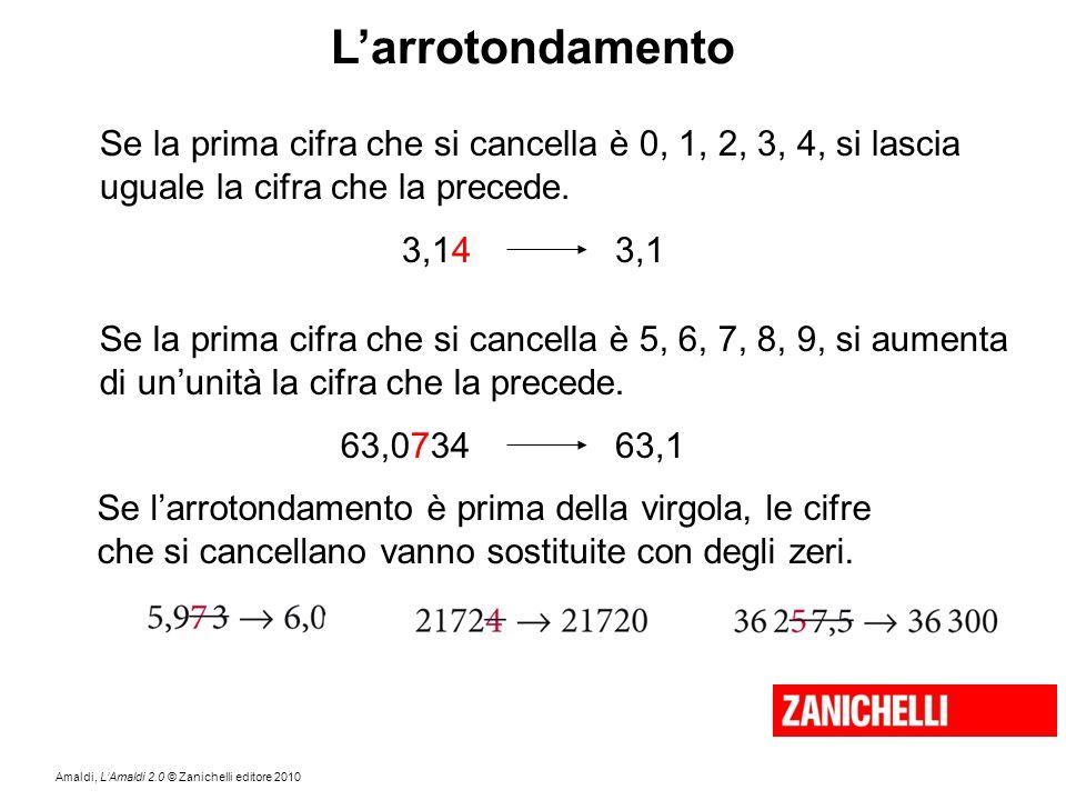 Amaldi, L'Amaldi 2.0 © Zanichelli editore 2010 L'arrotondamento Se la prima cifra che si cancella è 0, 1, 2, 3, 4, si lascia uguale la cifra che la pr