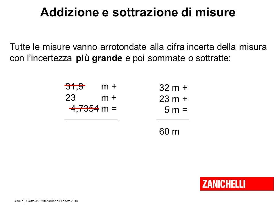 Amaldi, L'Amaldi 2.0 © Zanichelli editore 2010 Addizione e sottrazione di misure Tutte le misure vanno arrotondate alla cifra incerta della misura con
