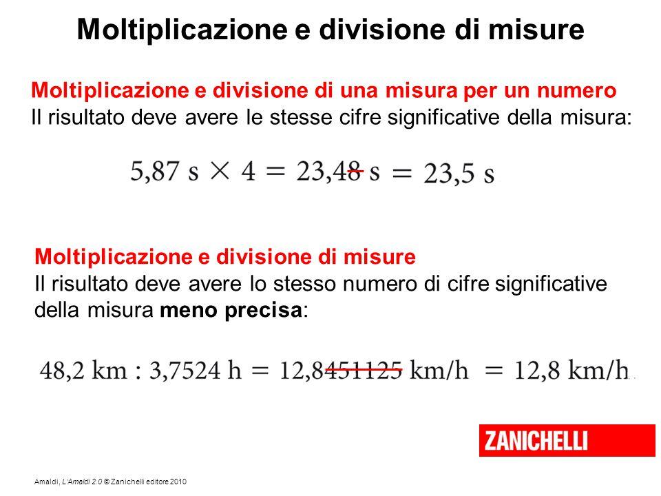Amaldi, L'Amaldi 2.0 © Zanichelli editore 2010 Moltiplicazione e divisione di misure Moltiplicazione e divisione di una misura per un numero Il risult