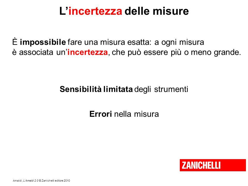 Amaldi, L'Amaldi 2.0 © Zanichelli editore 2010 L'incertezza delle misure È impossibile fare una misura esatta: a ogni misura è associata un'incertezza