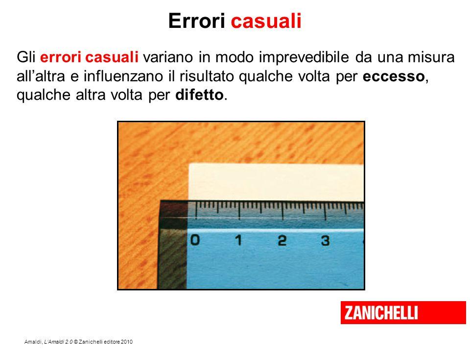 Amaldi, L'Amaldi 2.0 © Zanichelli editore 2010 Errori casuali Gli errori casuali variano in modo imprevedibile da una misura all'altra e influenzano i