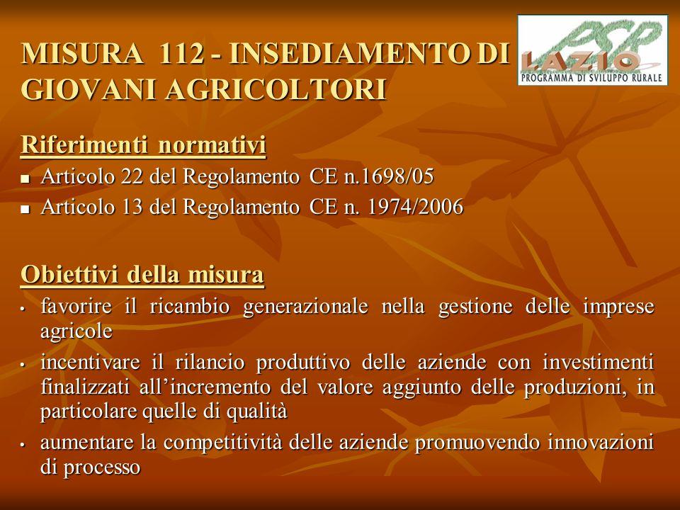 Collegamenti con le altre misure I principali collegamenti con le altre misure del Piano sono con: Misura 121 – Ammodernamento delle Aziende Agricole - con la realizzazione di un piano di investimento per l'ammodernamento dell'azienda agricola Misura 121 – Ammodernamento delle Aziende Agricole - con la realizzazione di un piano di investimento per l'ammodernamento dell'azienda agricola Misura 113 – Prepensionamento degli imprenditori e dei lavoratori agricoli ; Misura 113 – Prepensionamento degli imprenditori e dei lavoratori agricoli ; Misure 111 – Azioni nel campo della formazione professionale e del tutoraggio e 114 – Utilizzo di servizi di consulenza ; Misure 111 – Azioni nel campo della formazione professionale e del tutoraggio e 114 – Utilizzo di servizi di consulenza ; con tutte le misure volte a sostenere le imprese agricole in quanto il ricambio generazionale è individuato tra le priorità tematiche della strategia complessiva del Programma con tutte le misure volte a sostenere le imprese agricole in quanto il ricambio generazionale è individuato tra le priorità tematiche della strategia complessiva del Programma