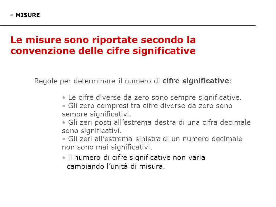 Le misure sono riportate secondo la convenzione delle cifre significative MISURE Regole per determinare il numero di cifre significative: Le cifre div