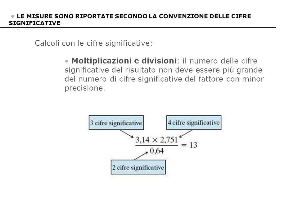 Calcoli con le cifre significative: Moltiplicazioni e divisioni: il numero delle cifre significative del risultato non deve essere più grande del nume
