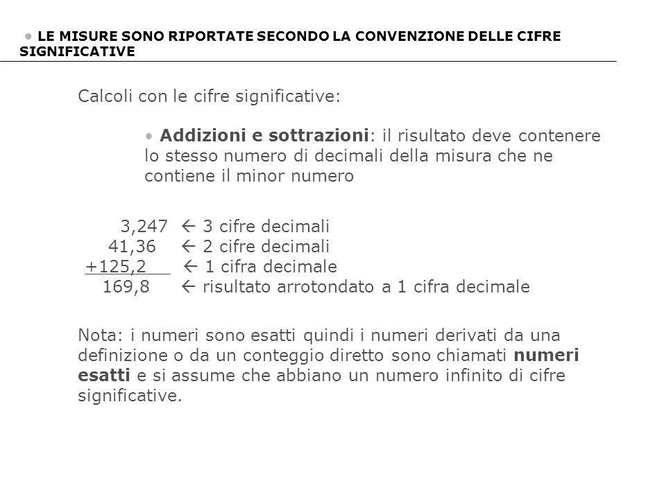 Calcoli con le cifre significative: Addizioni e sottrazioni: il risultato deve contenere lo stesso numero di decimali della misura che ne contiene il
