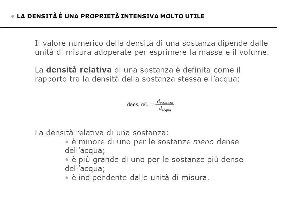 Il valore numerico della densità di una sostanza dipende dalle unità di misura adoperate per esprimere la massa e il volume. La densità relativa di un