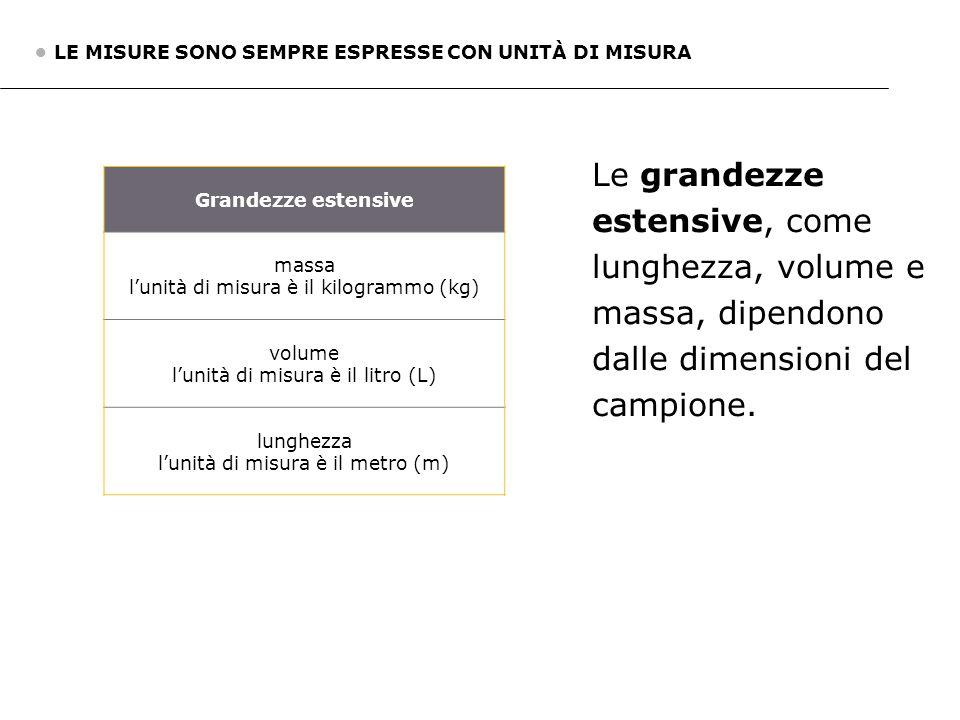 Grandezze estensive massa l'unità di misura è il kilogrammo (kg) volume l'unità di misura è il litro (L) lunghezza l'unità di misura è il metro (m) Le