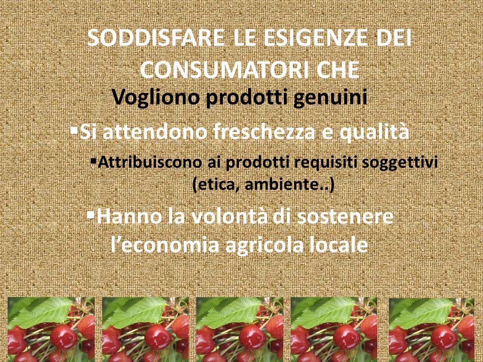 SODDISFARE LE ESIGENZE DEI CONSUMATORI CHE Vogliono prodotti genuini  Si attendono freschezza e qualità  Attribuiscono ai prodotti requisiti soggettivi (etica, ambiente..)  Hanno la volontà di sostenere l'economia agricola locale