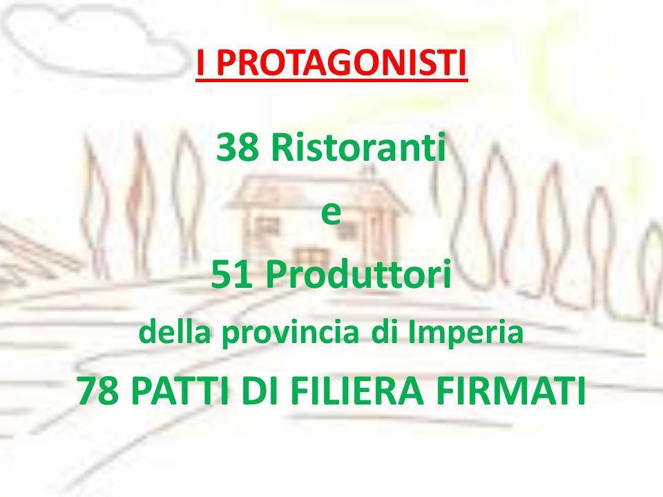 I PROTAGONISTI 38 Ristoranti e 51 Produttori della provincia di Imperia 78 PATTI DI FILIERA FIRMATI
