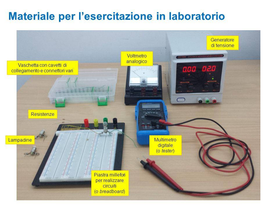 Materiale per l'esercitazione in laboratorio Lampadine Resistenze Vaschetta con cavetti di collegamento e connettori vari Multimetro digitale (o teste