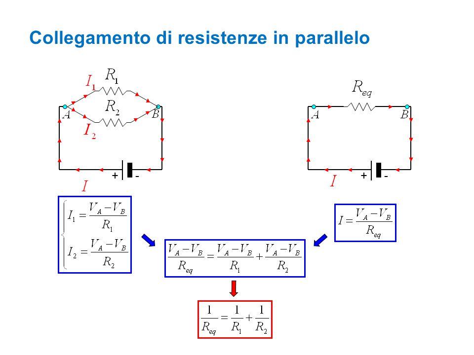 Collegamento di resistenze in parallelo +- +-