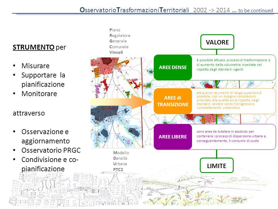 Piano Regolatore Generale Comunale Vincoli Modello Densità Urbane PTC2 VALORE LIMITE è possibile attuare processi di trasformazione e di aumento della