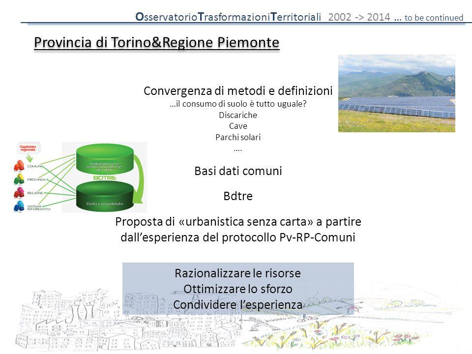 Provincia di Torino&Regione Piemonte Convergenza di metodi e definizioni …il consumo di suolo è tutto uguale? Discariche Cave Parchi solari …. Basi da