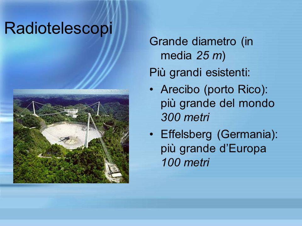 Radiotelescopi Grande diametro (in media 25 m) Più grandi esistenti: Arecibo (porto Rico): più grande del mondo 300 metri Effelsberg (Germania): più g