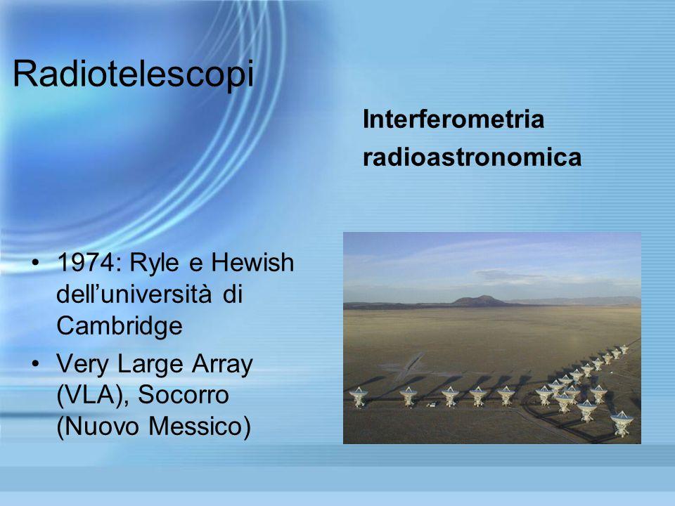 Radiotelescopi 1974: Ryle e Hewish dell'università di Cambridge Very Large Array (VLA), Socorro (Nuovo Messico) Interferometria radioastronomica