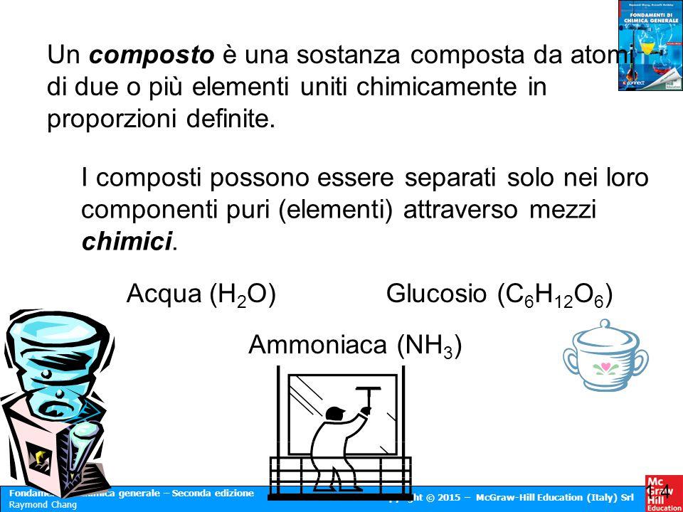 Fondamenti di chimica generale – Seconda edizione Raymond Chang Copyright © 2015 – McGraw-Hill Education (Italy) Srl Un composto è una sostanza compos